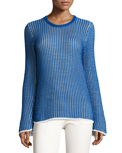 Mesh Long-Sleeve Crewneck Sweater, Blue/White