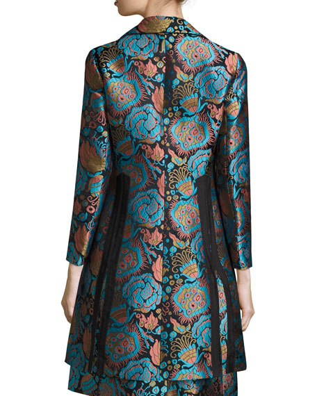 Floral Brocade A-Line Coat, Blue/Black/Turquoise