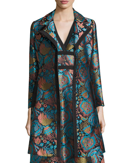 Floral Brocade A-Line Coat, Blue/Black/Turquoise