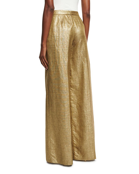 Metallic High-Rise Wide-Leg Pants, Gold