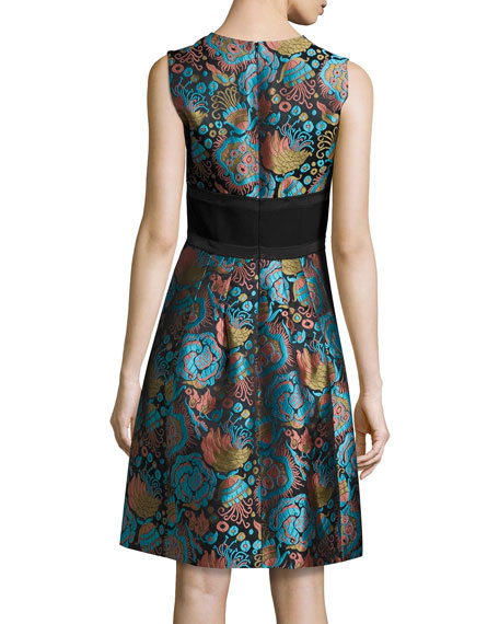 Floral Brocade A-Line Coat, Blue/Black/Turquoise Cheap