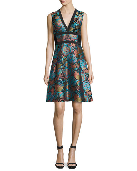 Etro Floral Brocade V-Neck Corset Dress, Blue/Black/Turquoise