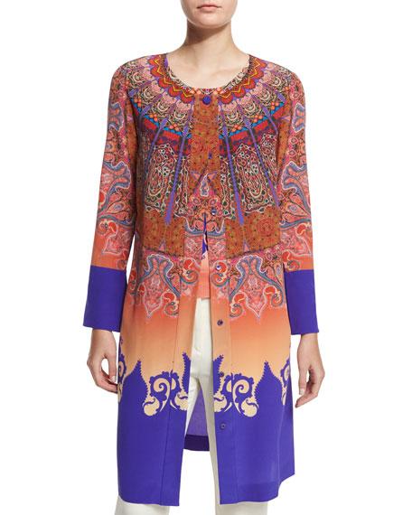 Marrakech-Print Silk Coat, Orange/Purple