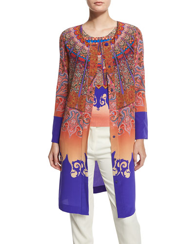 Marrakech-Print Silk Coat, Orange/Purple