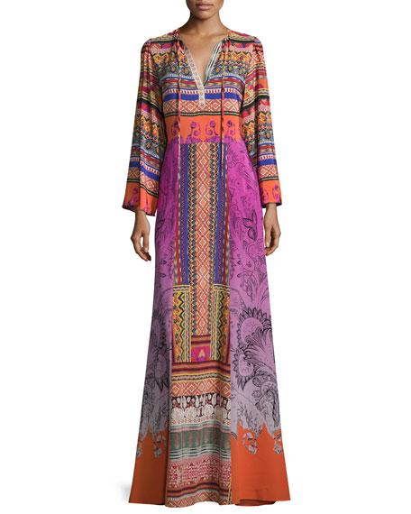 Ribbon-Print Tie-Neck Peasant Gown, Purple