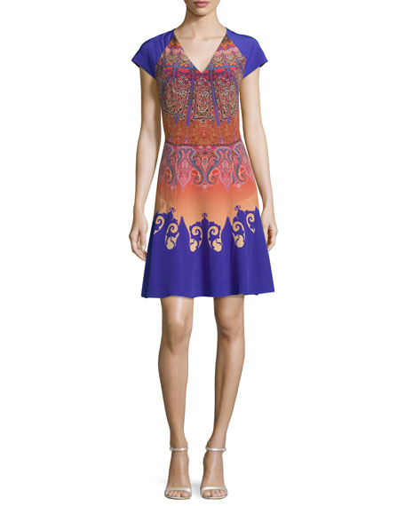 Etro Marrakech-Print Cap-Sleeve A-Line Dress, Orange/Purple