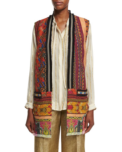 Fringe-Trim Printed Tweed Vest, Multi