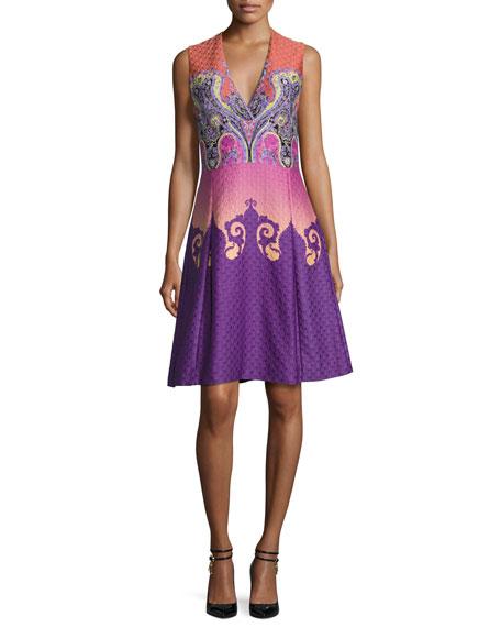 Etro Paisley Ombre Cloqué V-Neck Dress, Purple/Pink