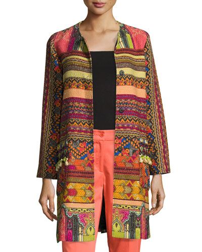 Tassel Tweed A-Line Coat, Multi