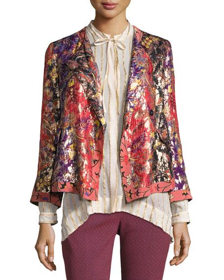 Foiled Floral-Print Jacket, Orange/Purple/Gold