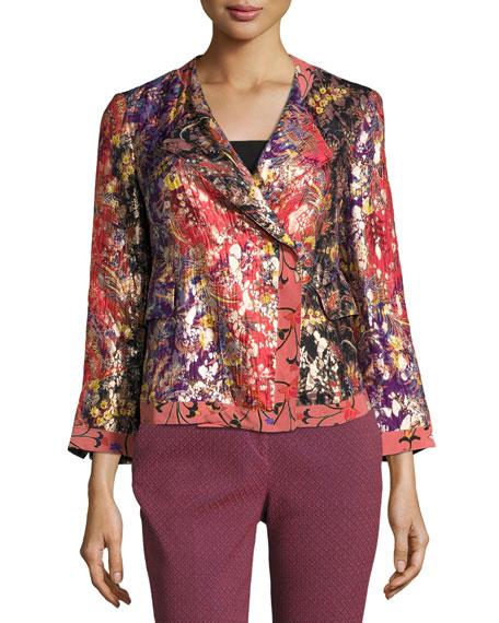 Etro Foiled Floral-Print Jacket, Orange/Purple/Gold
