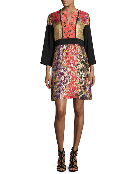 Etro Printed 3/4-Sleeve Split-Neck Kimono Dress, Black/Pink