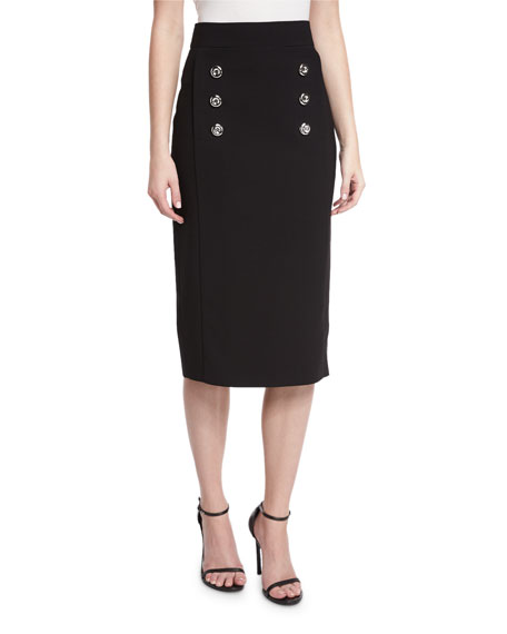 Michael Kors Collection Button-Front Pencil Skirt, Black