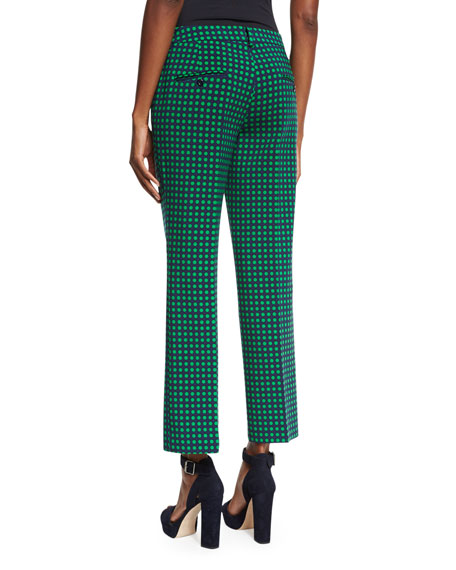 Michael Kors Collection Polka-Dot Flared Ankle Pants, Maritime/Garden