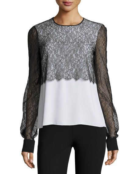 Michael Kors Collection Layered Lace Crewneck Blouse, White