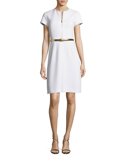 Belted A-Line Zip-Front Dress, White