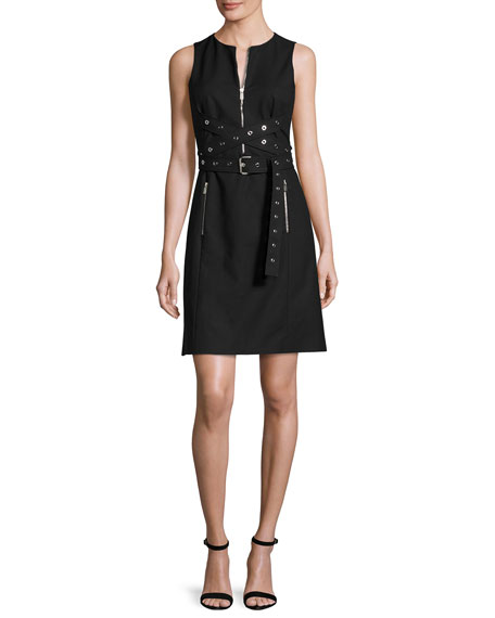 Michael Kors Collection Grommet Wrap-Belt Shift Dress, Black