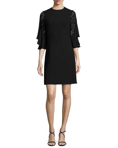 Ruffled Lace-Sleeve Shift Dress, Black