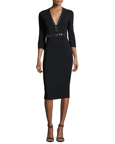 Grommet-Trim V-Neck Sheath Dress, Black