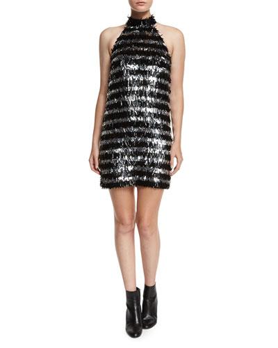 Fringe Striped Halter Mini Dress, Black