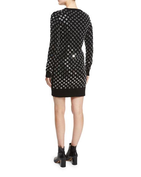 Grommet Crewneck Sweaterdress, Black