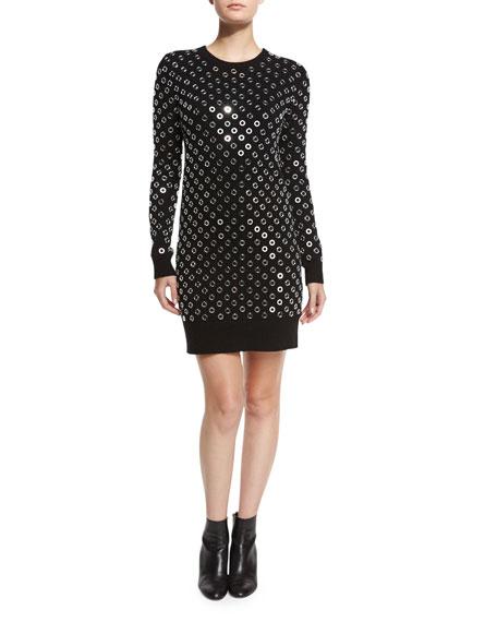 Michael Kors Collection Grommet Crewneck Sweaterdress, Black