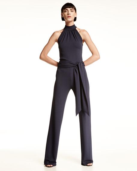 Michael Kors Collection Sleeveless Halter Jumpsuit with Sash, Maritime