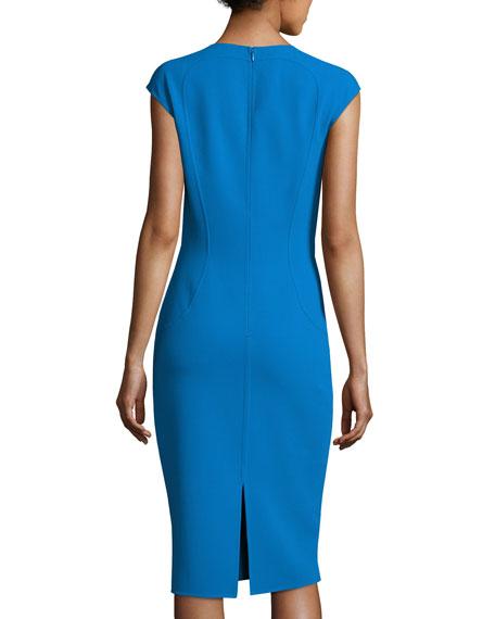Cap-Sleeve Crewneck Sheath Dress, Wave