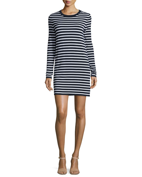 Striped Long-Sleeve T-Shirt Dress, Maritime/White