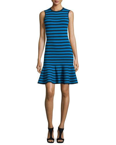 Striped Sleeveless Flounce Dress, Maritime/Waves