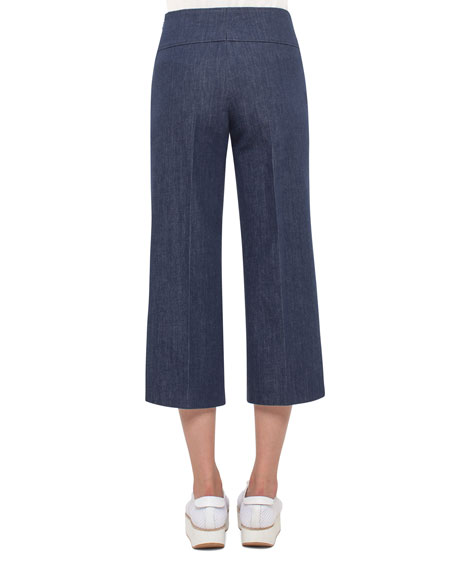 Denim Side-Zip Culotte Pants, Blue Denim
