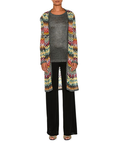 Zigzag Knit Open-Front Long Cardigan, Multi