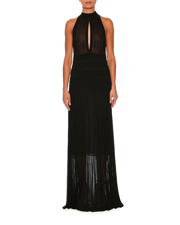 Missoni Keyhole Sleeveless Halter Gown, Black   Neiman Marcus
