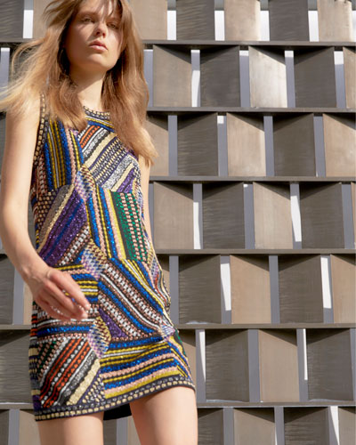 MISSONI Linings SLEEVELESS CREWNECK PATCHWORK DRESS, BLACK/MULTI