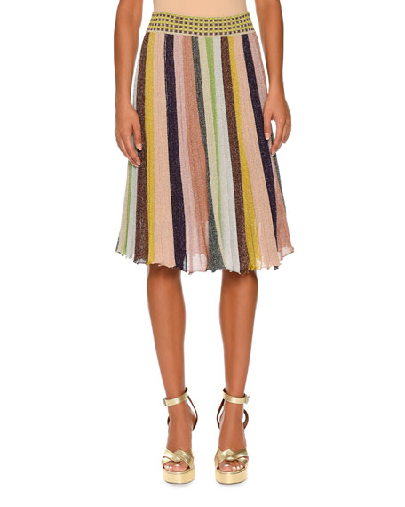 missoni striped pleated a line skirt gold rainbow