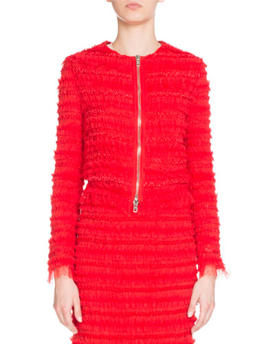 Zip-Front Pleated Tulle Jacket, Red