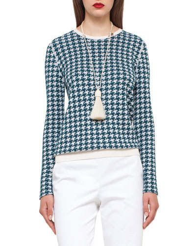 Houndstooth Jacquard Crewneck Sweater, Seabiscuit/Moonstone