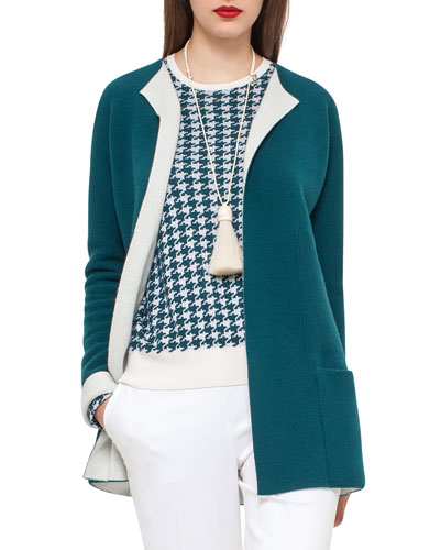 Bicolor Knit Open Cardigan, Seabiscuit/Moonstone