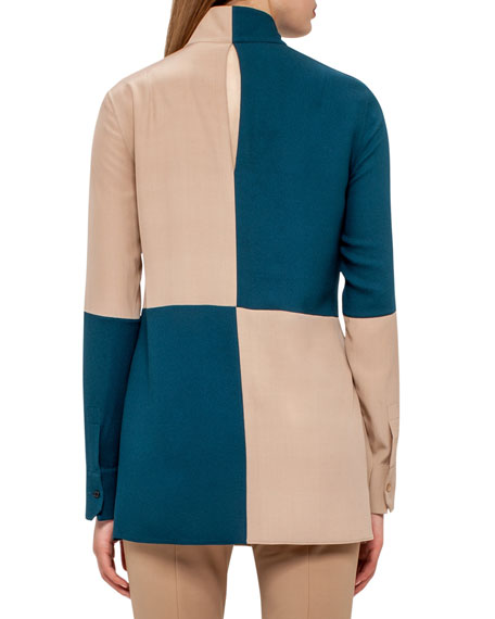 Bicolor Long-Sleeve Tunic Blouse, Camel/Seabiscuit