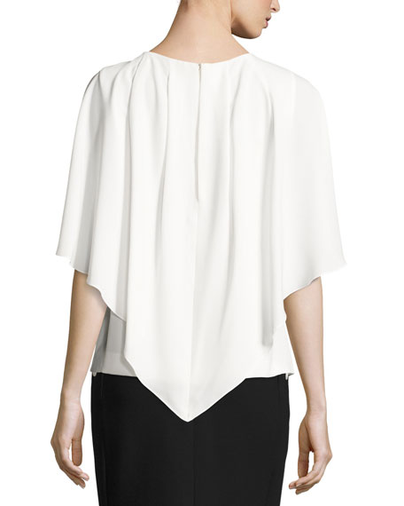 Round-Neck Capelet Blouse, Off White