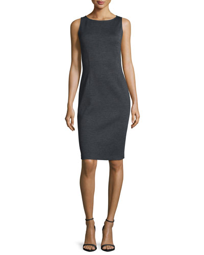 Milano Bateau-Neck Sheath Dress, Hematite Melange