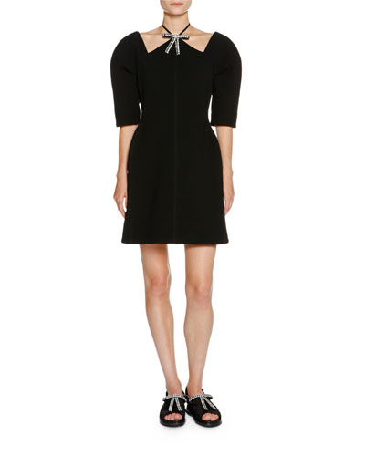 Crystal-Bow Half-Sleeve Dress, Black