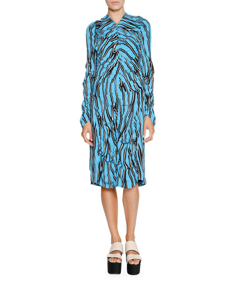 Marni Printed V-Neck Long-Sleeve Dress, Cobalt