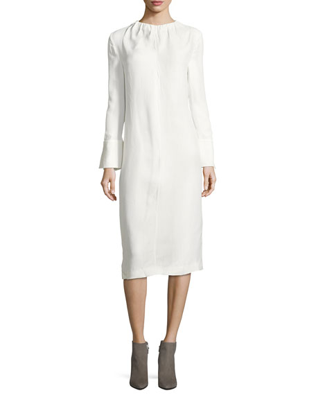 Marni Gathered-Neck Poplin Midi Dress, Lily White