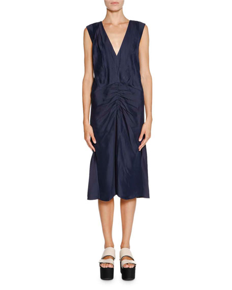 Sleeveless V-Neck Ruched-Waist Dress, Light Navy