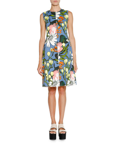 Sleeveless Floral A-Line Dress, Iris Blue