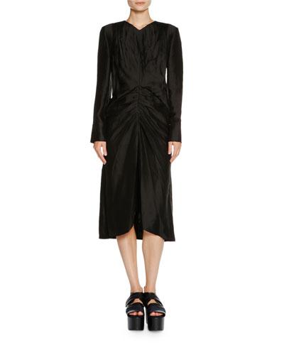 Long-Sleeve Ruched-Waist Dress, Black