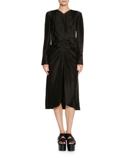 Marni Long-Sleeve Ruched-Waist Dress, Black