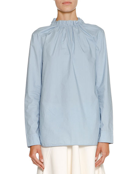 Marni Ruched Stand-Collar Blouse, Sky