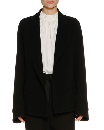 Shawl-Collar Flap-Pocket Jacket, Black